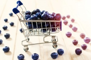 Selective focus on the blueberries in small trolley